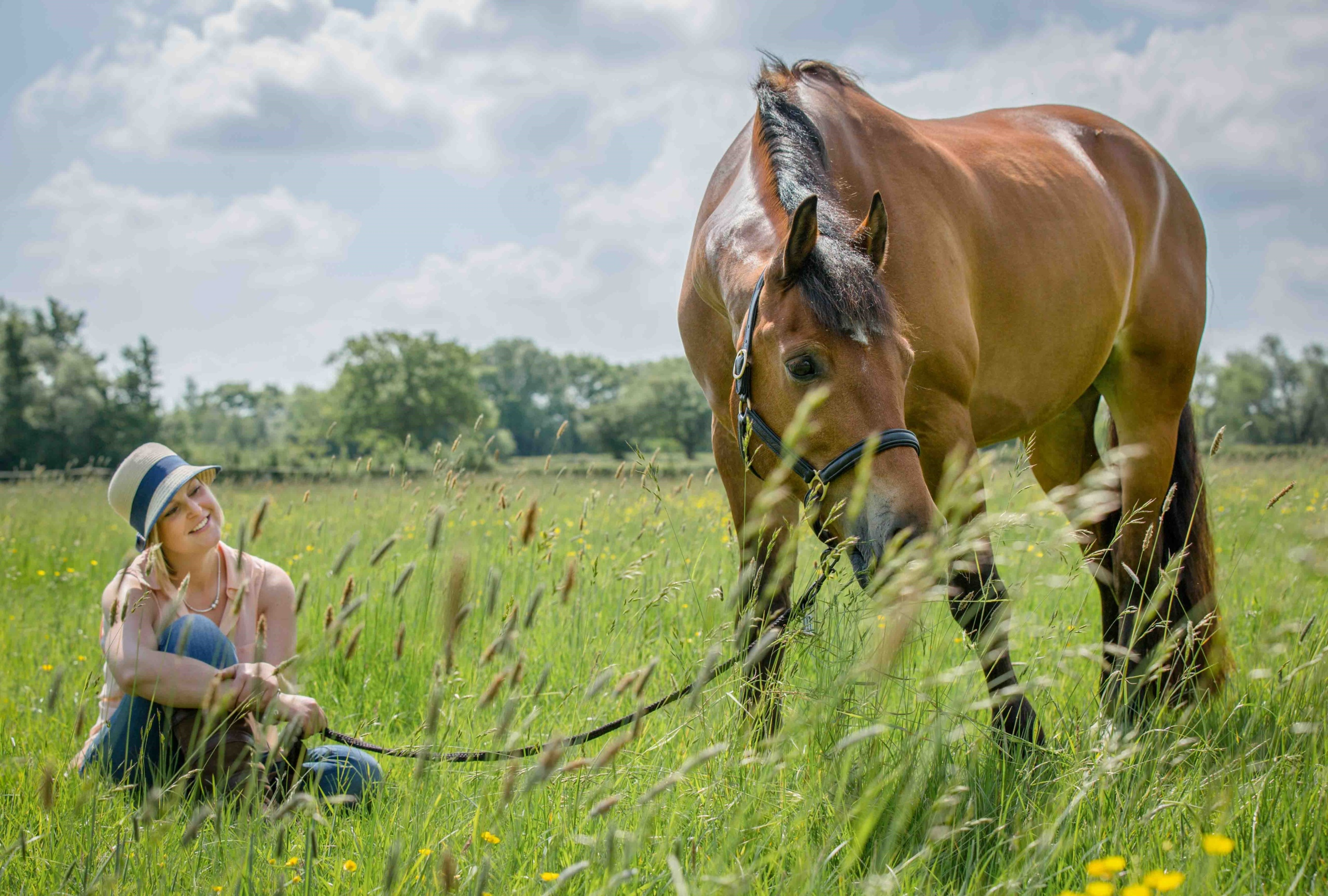 Horse Photography, young woman sat in grassy field holding reins of bay chestnut horse on a sunny day